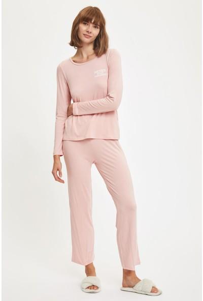 Defacto Kadın Minimal Baskılı Uzun Kollu Pijama Takımı