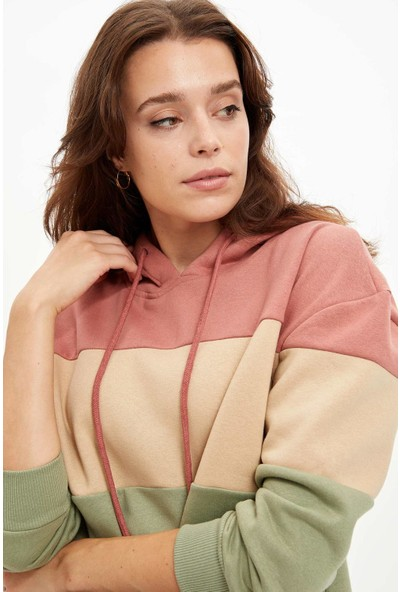 Defacto Kadın Renk Bloklu Relax Fit Örme Sweatshirt