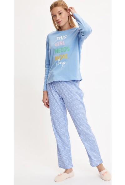 Defacto Kadın Slogan Baskılı Uzun Kollu Baskılı Pijama Takımı
