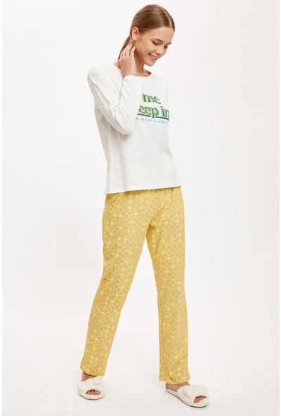 Defacto Kadın Slogan Baskılı Uzun Kollu Pijama Takımı
