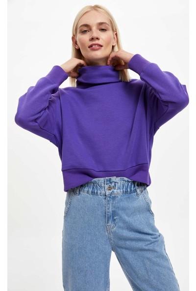 Defacto Kadın Balıkçı Yaka Crop Top Sweatshirt