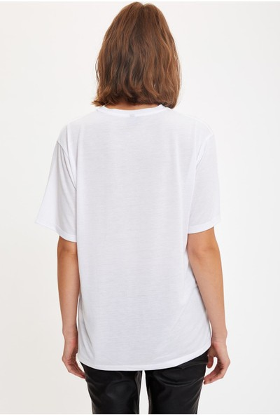 Defacto Kadın Astroloji Temalı Boyfriend T-Shirt