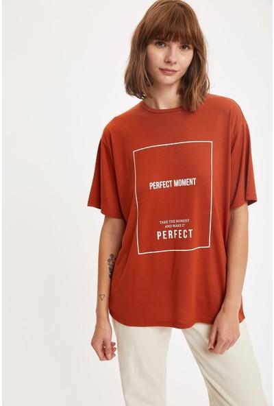 Defacto Kadın Slogan Baskılı Boyfriend T-Shirt