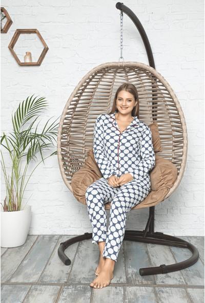 Uzun Kollu Düğmeli Kadın Pijama Takımı