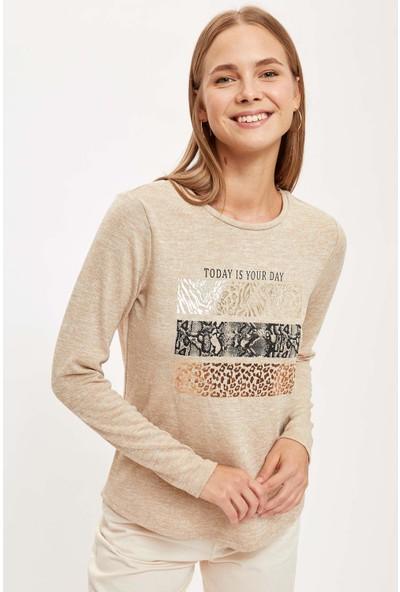 Defacto Kadın Slogan Baskılı Uzun Kollu T-Shirt