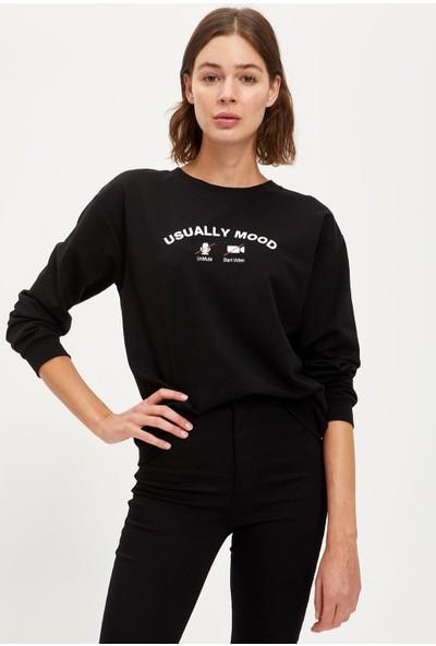 DeFacto Yazı Baskılı Oversize Sweatshirt S1156AZ20AU
