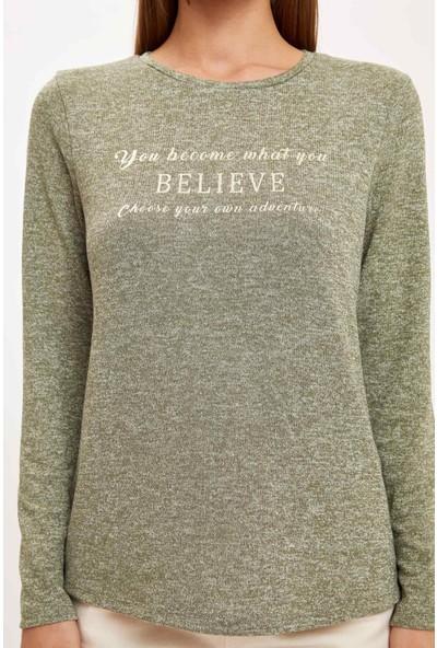Defacto Kadın Yazı Baskılı Uzun Kollu T-Shirt