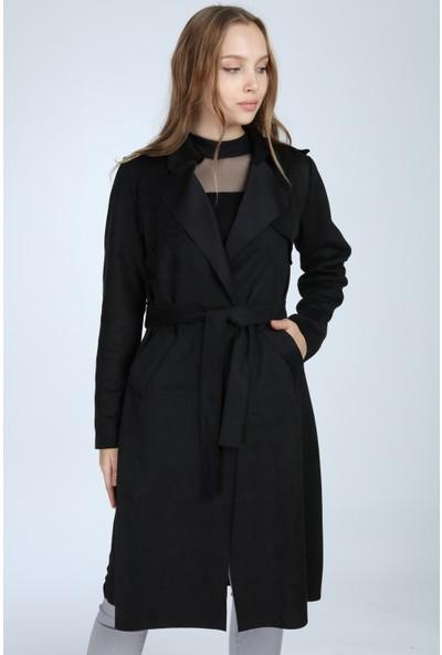Esely Moda Siyah Süet Trençkot