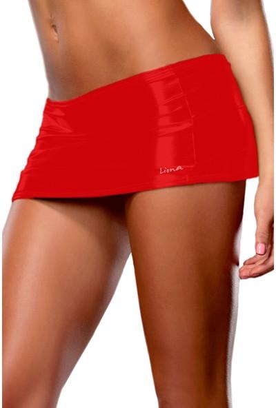 Liona Deri Görünümlü Kırmızı Mini Etek