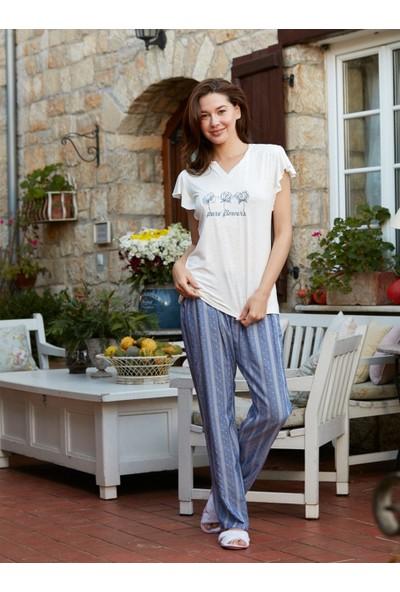Cotbox Indigo Ikili Pijama Takım XL Beyaz