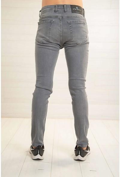 Deep Brown Erkek Gri Kot Pantolon Slimfit Hafif Bıyıklı Deepbrown 58645-AG
