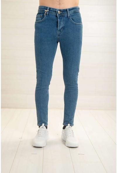 Deep Brown Erkek Mavi Kot Pantolon Skinnyfit Taşlamalı Deep Brown 7764-BJ-99