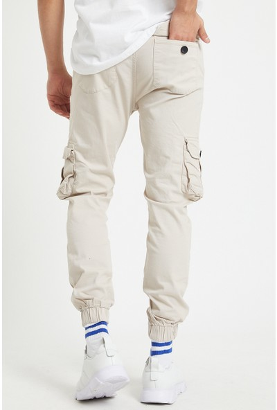 Serseri Jeans Erkek Körüklü Bej Antrasit Renk Jogger Paçası Lastikli Pantolon
