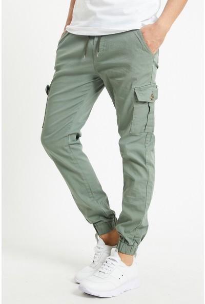 Serseri Jeans Erkek Su Yeşili Renk Yandan Cepli Jogger Paçası Beli Lastikli Pantolon