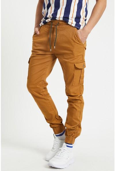 Serseri Jeans Erkek Tütün Renk Yandan Cepli Jogger Paçası Beli Lastikli Pantolon