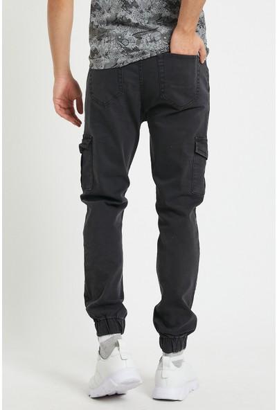 Serseri Jeans Erkek Füme Antrasit Renk Yandan Cepli Jogger Paçası Beli Lastikli Pantolon
