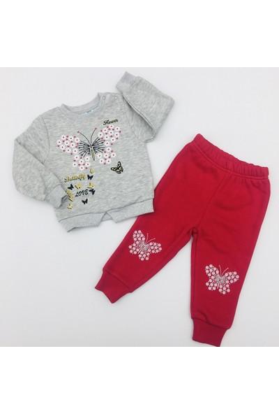 Nazar Bebe Butterfly Love Içi Şardonlu Bebek Takım Gri Kırmızı 12 - 18 Ay