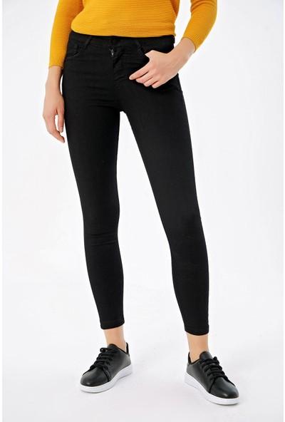 Şimal Kadın Yüksel Bel Gabardin Dar Paça Pantolon Siyah 26