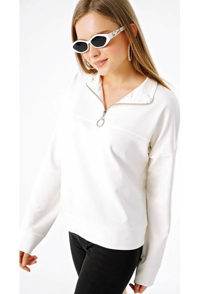 Şimal Kadın Yakası Fermuarlı Dik Yaka Sweatshirt Ekru XL