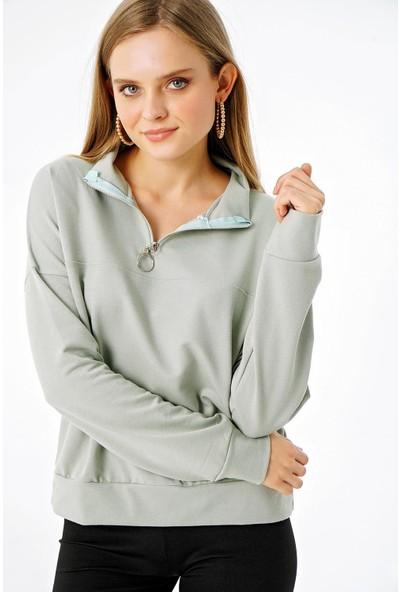 Şimal Kadın Yakası Fermuarlı Dik Yaka Sweatshirt Yeşil L