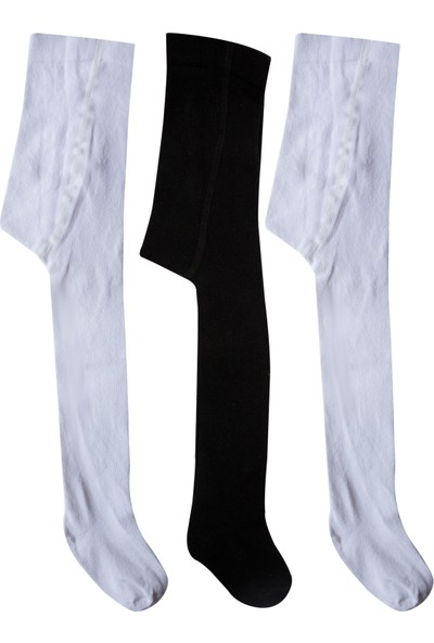 Olay Socks 3'lü Çocuk Külotlu ÇORAP-9.01.00042BYZ1SYAH Beyaz - Siyah 7 - 9 Yaş