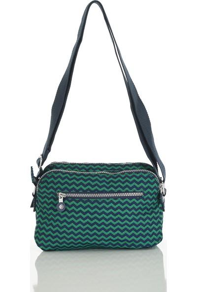 Smart Bags Lacivert-Yeşil Kadın Çapraz Çanta 3002-0066