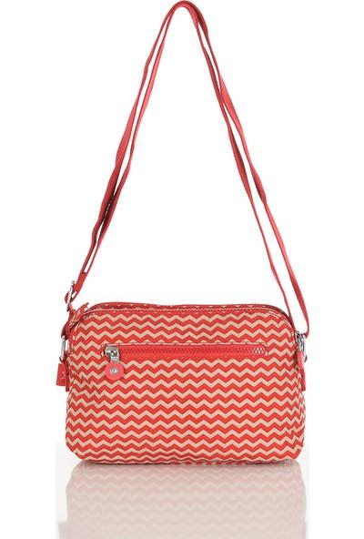 Smart Bags Kırmızı-Bej Kadın Çapraz Çanta 3002-0134