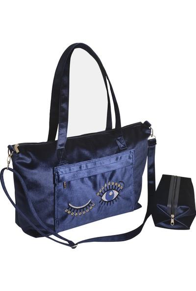 Bakras Kadife Shopper Tote Omuz Askılı Çanta - İkili Set