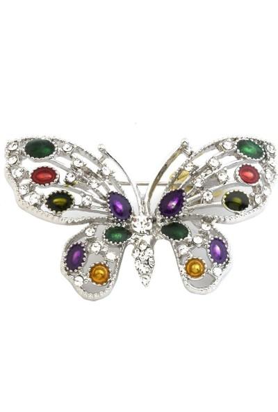 Begonvilley Renkli Taşlarla Bezenmiş Kelebek Figürlü Broş