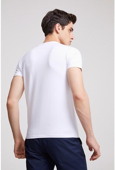 D'S Damat Slim Fit Beyaz T-Shirt