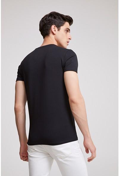 D'S Damat Slim Fit Siyah T-Shirt