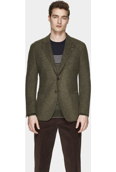 D's Damat Regular Fit Yeşil Kumaş Ceket