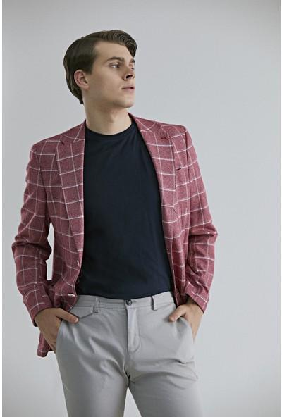 D's Damat Erkek Slim Fit Kırmızı Kumaş Ceket