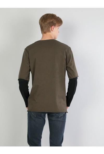 Colin's Normal Kesim Bisiklet Yaka Baskılı Haki Erkek Uzun Kol T-Shirt