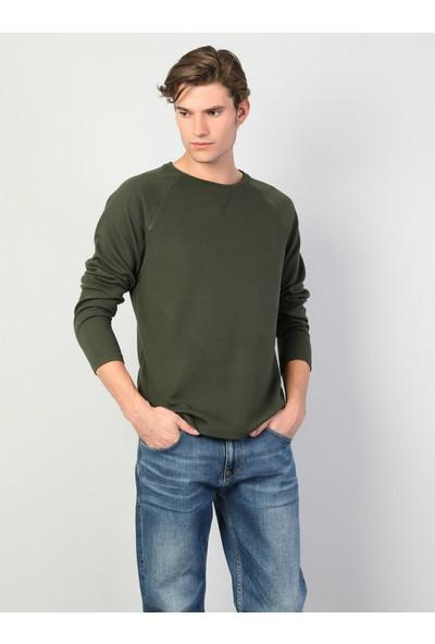 Colin's Slim Fit Bisiklet Yaka Haki Erkek Uzun Kol T-Shirt