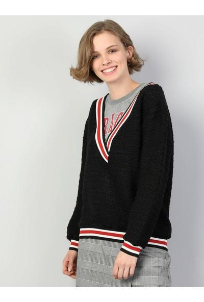 Colin's Normal Kesim V Yaka Siyah Kadın Uzun Kol T-Shirt