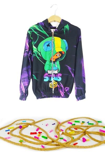 Lifeformoda Erkek Çocuk Brawl Stars 3D Leon Baskılı Kapüşonlu Fermuarlı Ceket