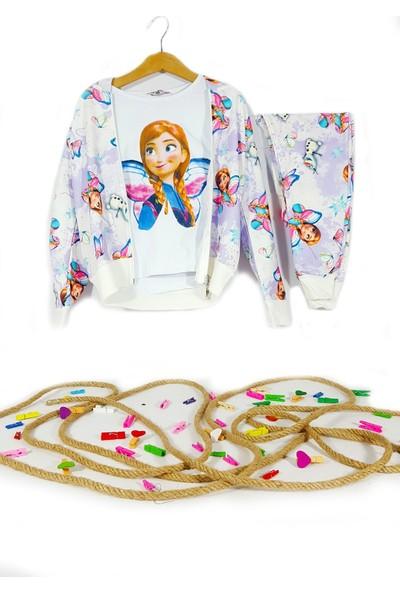 Fosforlu Kids Kız Çocuk Elsa & Minnie Mouse Batik Desenli Kapüşonlu Fermuarlı Eşofman Takım