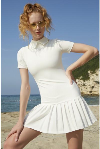 Berfuğ Kıran Etekleri Pileli Beyaz Yakalı Mini Elbise - Beyaz