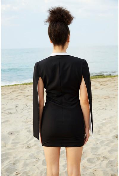 Berfuğ Kıran Göğsü ve Kolu Fermuarlı Mini Elbise-Siyah
