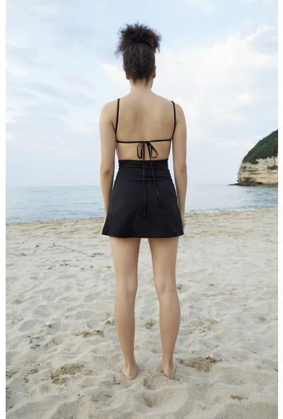 Berfuğ Kıran Sırt Dekolteli Ince Askılı Elbise-Siyah