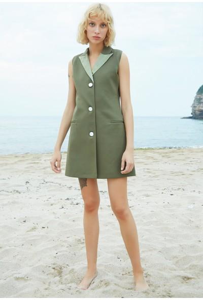 Berfuğ Kıran Yakası Saten Mini Ceket Elbise-Haki