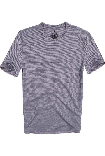Blue Sail Açık Gri Renk Çizgili Yuvarlak Yaka Erkek Tişört