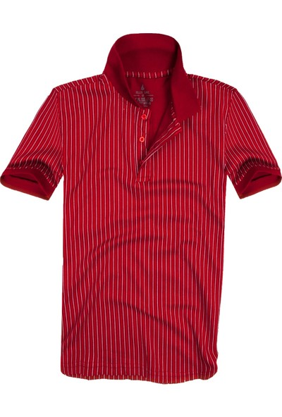 Blue Sail Kırmızı Renk Çizgili Polo Erkek Tişört