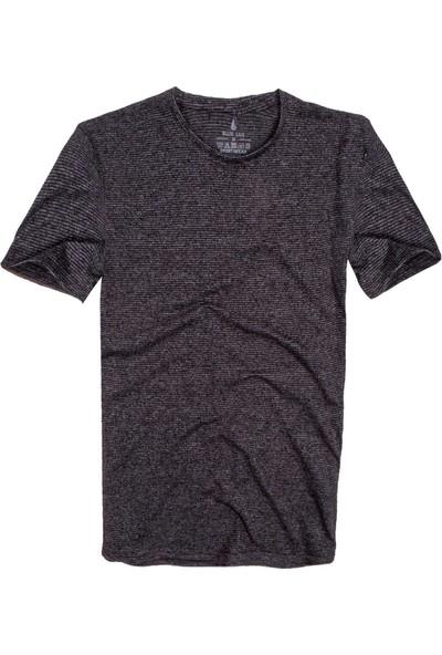 Blue Sail Koyu Gri Renk Çizgili Yuvarlak Yaka Erkek T-Shirt