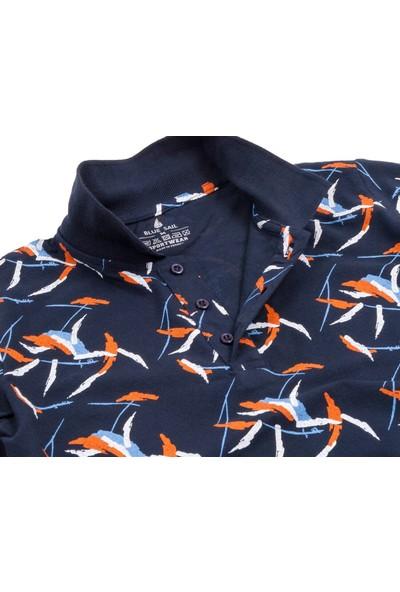 Blue Sail Lacivert Desenli Erkek Polo Yaka Tişört