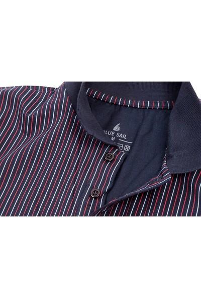 Blue Sail Lacivert Renk Çizgili Polo Erkek Tişört