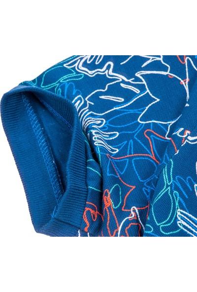 Blue Sail Mavi Renk Desenli Polo Yaka Erkek Tişört