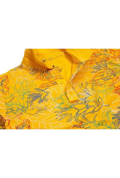 Blue Sail Sarı Renk Desenli Polo Yaka Erkek Tişört