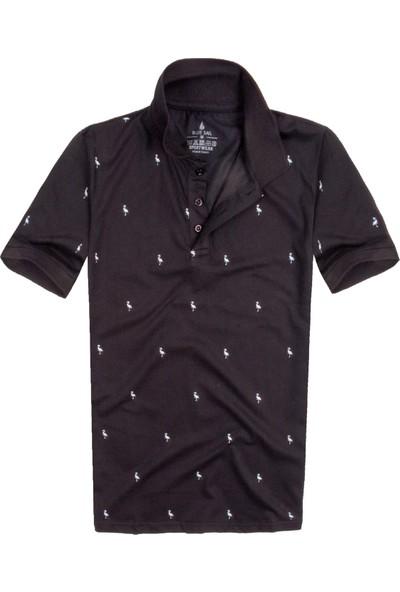Blue Sail Siyah Flamingo Baskılı Polo Erkek Tişört